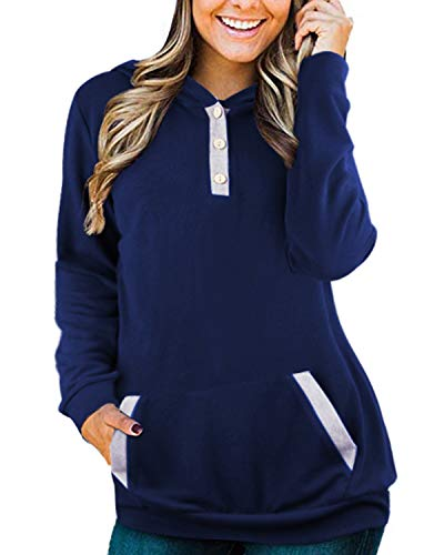 OUGES Womens Sweatshirts Long Sleeve Button Pullover Hoodies with Pocket(Navy366,XL)