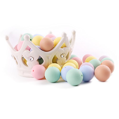Promise Babe 50PC 12MM Candy Color Teething Beads Baby Chew Jewelry BPA Free DIY Teething Necklace and Bracelet Chewable Beads for Baby Assortment ()