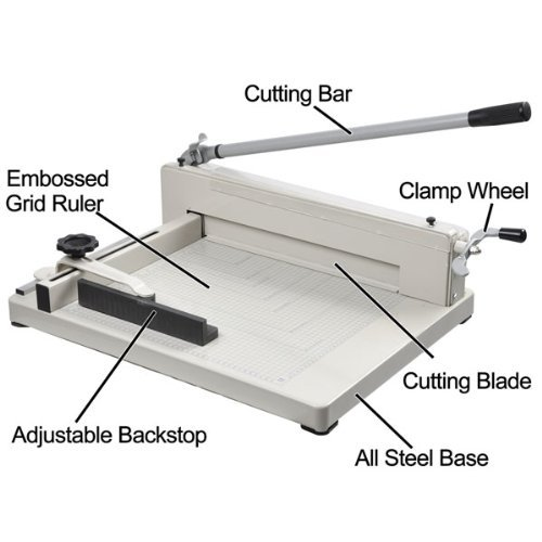 Amzdeal ® 17'' Steel Heavy Duty Manual Guillotine Paper Cutter Trimmer Machine White w/ Inches Ruler Capacity 400 Sheets A3 for Office Commercial Photocopy Printing Shop by Amzdeal (Image #3)