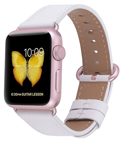JSGJMY Compatible with Iwatch Band Women Genuine Leather Replacement Strap Compatible with Series 4 3 2 1 Sport Edition(38mm 40mm S/M,White+Rose Gold Clasp)