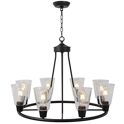 BONLICHT Traditional Round Chandelier Large 8 Lights Black Industrial Vintage Light Fixtures Clear Glass Shades Hanging Pendant Lighting for Kitchen Island Living Room Dining Room Farmhouse Foyer