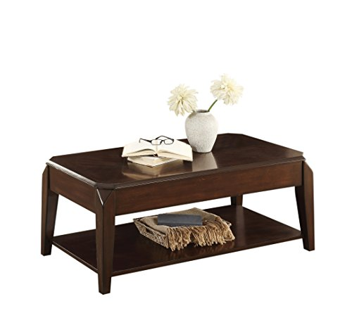 Sikeston Cocktail Table w/Lift Top on Casters in Cherry - Homelegance Cherry Lift