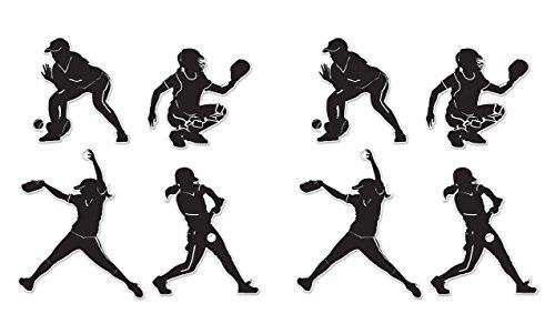 Beistle 54761 8Piece Softball Silhouettes, 9