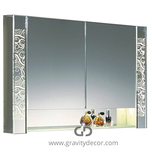 Gravity Decor The Prestige, Luxurious Bathroom Mirrored Cabinet with LED Lighting