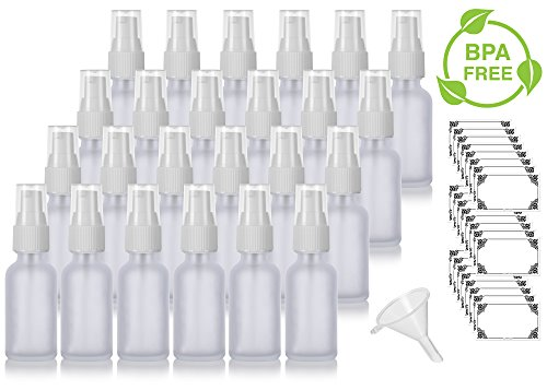 (1 oz Frosted Clear Glass Boston Round White Treatment Pump Bottle (24 Pack) + Funnel and Labels for Cosmetics, Serums, Essential Oils, Aromatherapy, Food Grade, bpa Free)
