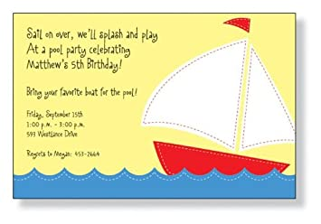 amazon com stitched boat party invitations health personal care