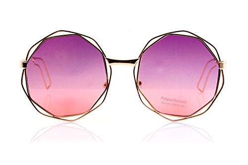 FBL Metal Double Wire Octagonal Hippie Round Flat Lens Sunglasses A079 (Purple - Sunglasses Festival
