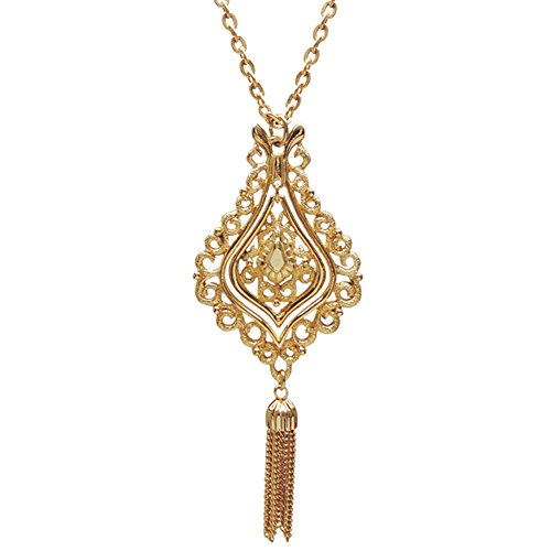 Vintage 1970S Articulated Medallion Necklace, Signed Jj, USA!, Bell Shape with Tassel in Gold (70s Fashion Jewelry)