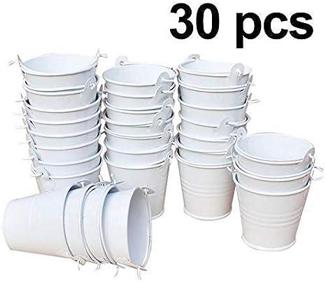XYJIE 30 cubos de metal para dulces, cubos de regalo, perfecto para regalos de fiesta, caramelos, velas votivas, abalorios, plantas pequeñas (blanco)