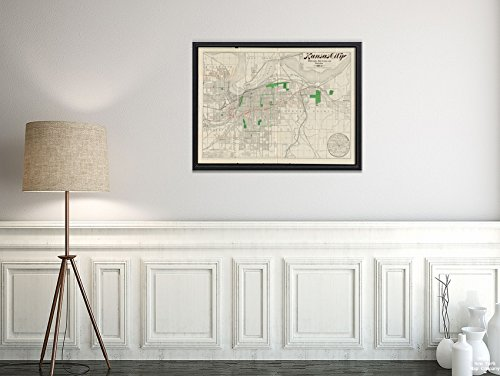 1893 Map Missouri|Jackson|Kansas City Kansas City Railroads, Belt line and switches : 1893-4 Inc|Vintage Fine Art Reproduction|Ready to Frame