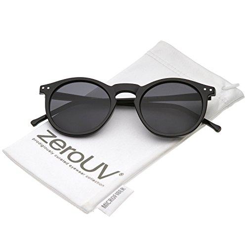 Vintage Retro Horn Rimmed Round Circle Sunglasses with P3 Keyhole Bridge (Black/Smoke) -