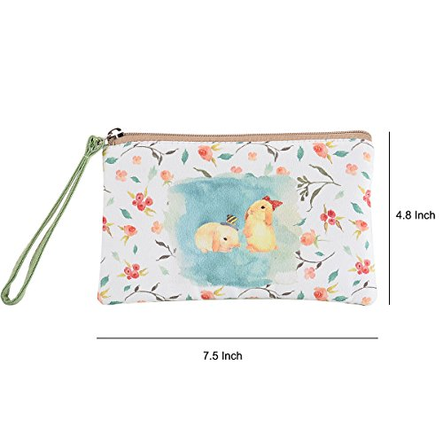 LOEL Cute Canvas Cash Coin Purse Bag, Cellphone Bag With Handle, Make Up Bag for Women and Girls