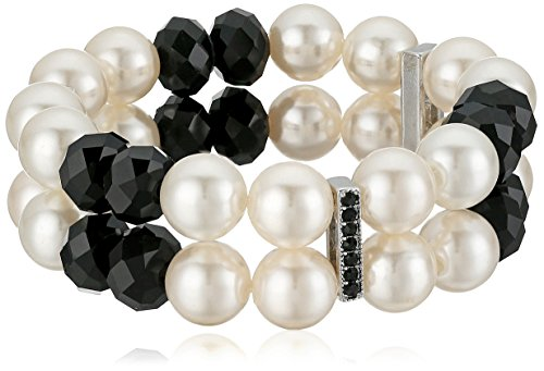 Silver Tone Simulated Cream Pearl and Black Double Row Stretch Bracelet with Pave Bar (Pearl Double Row Bracelet)