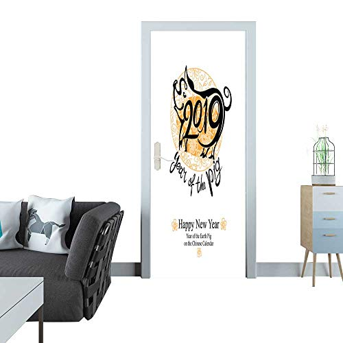 Anmaseven Door Sticker Happy New Year 2019 Year of The Yellow Earth Pig on The Chinese Calendar 3D Door Sticker 35x83(90x210 cm)