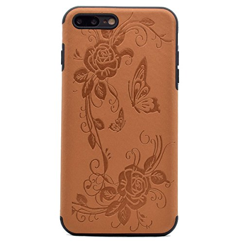 "inShang iPhone 6 Plus iPhone 6S Plus 5.5"" Funda y Carcasa para iPhone 6 Plus iPhone 6S Plus 5.5 inch case iPhone 6+ iPhone 6S+ 5.5 inch móvil, Ultra delgado y ligero Material de TPU, carcasa posterior Brown butterfly flower"