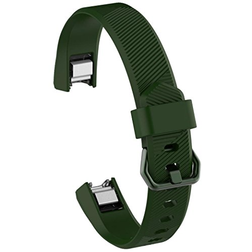 Alonea Large Replacement Wrist Band Silicon Strap Clasp For Fitbit Alta HR Watch (Army Green)