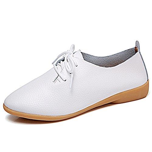 Panda Kelly Causal Chaussures Plates Lacets Slip Sur Mocassins En Cuir  Chaussures Pour Femmes Blanc f6c87f8e46d0