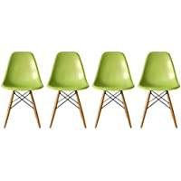 2xhome - Set of Four (4) Green - Eames Style Side Chair Natural Wood Legs Eiffel Dining Room Chair - Lounge Chair No Arm Arms Armless Less Chairs Seats Wooden Wood leg Wire leg