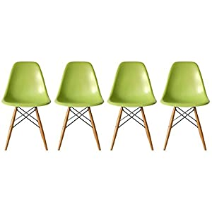 2xhome   Set of Four  4  Green   Eames Side Chair Eames Chair Green Seat  Natural Wood Wooden Legs Eiffel Dining Room Chairs No Arm Arms Armless  Molded  Amazon com   2xhome   Set of Four  4  Green   Eames Side Chair  . Eames Dsw Chair Green. Home Design Ideas