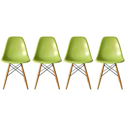 2xhome - Set of Four (4) Green - Eames Style Side Chair N...