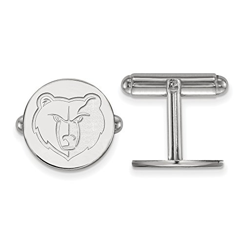 NBA Memphis Grizzlies Cuff Links in Rhodium Plated Sterling Silver by LogoArt
