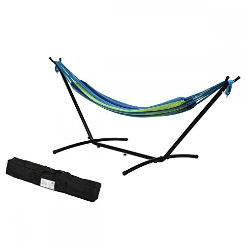 Double Hammock With Space Saving Steel Stand Includes Portable Carrying Case (Blue)