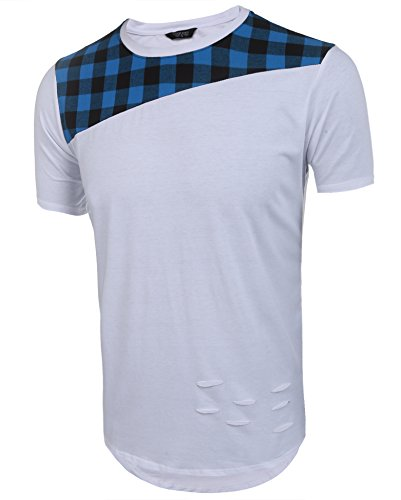COOFANDY-Mens-Hipster-Hip-Hop-Plaid-Cut-Off-Patchwork-Pullover-Longline-T-Shirt