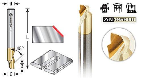Amana Tool 51625 Aluminum Chamfer Edge 3/16 D x 3/32 CH x 1/4 SHK x 2 Inch Long x Single Flute SC ZrN Coated Up-Cut End Mill