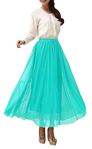 Vintage Retro Mint - Afibi Womens Chiffon Retro Long Maxi Skirt Vintage Dress (XXX-Large, Mint)