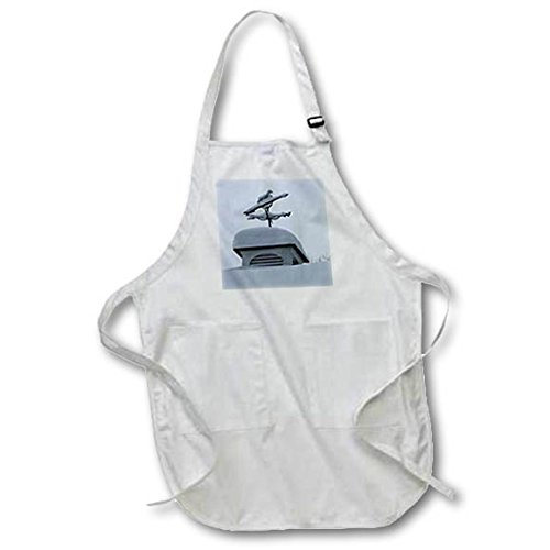 3dRose TDSwhite - Winter Seasonal Nature Photos - Weathervane Equine Horse Snowy Winter Day - Full Length Apron with Pockets 22w x 30l (apr_284945_1)