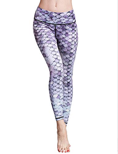 Hioinieiy Womens Mermaid Fish Scale Printed Leggings Women's High Waisted Workout Sports Spandex Cute Patterned Yoga Pants for Women Purple M