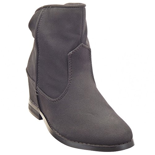Sopily - damen Mode Schuhe Stiefeletten Low boots Schuhabsatz Keilabsatz - Grau