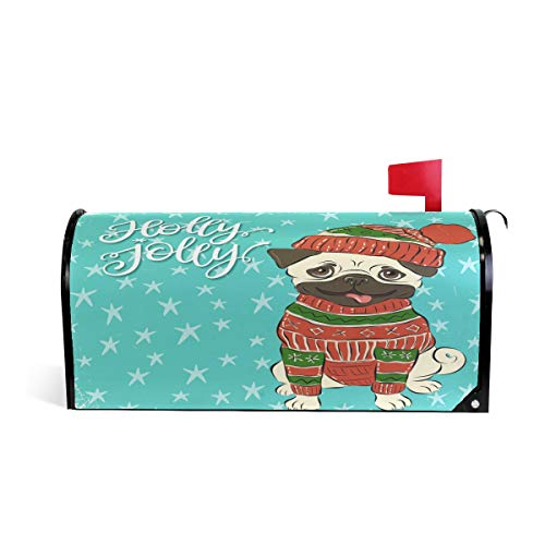 Christmas Happy Winter Pug Dog Magnetic Mailbox Cover MailWraps, Holly Jolly Nimal Mailbox Wraps Post Box Garden Yard Home Decor for Outside Standard Size (Wrap Holiday Decor Holly)