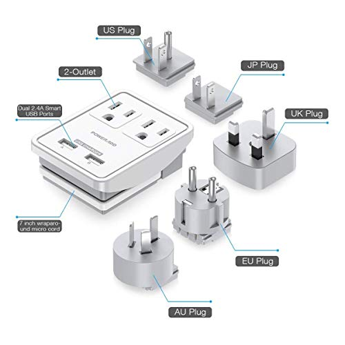 Poweradd UL Listed Universal Travel Adapter, International Power Adapter with 2 Outlets, 2 USB Ports, and 5 Worldwide Wall Plugs Compatible with UK/US/AU/EU/JAPAN Plugs, for Business Trip Power Adapter Canada to Other Countries
