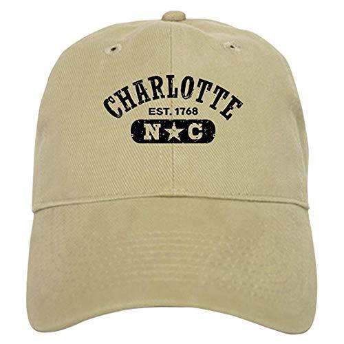 Charlotte NC Khaki Baseball Cap with Adjustable Closure, Unique Printed Baseball Hat