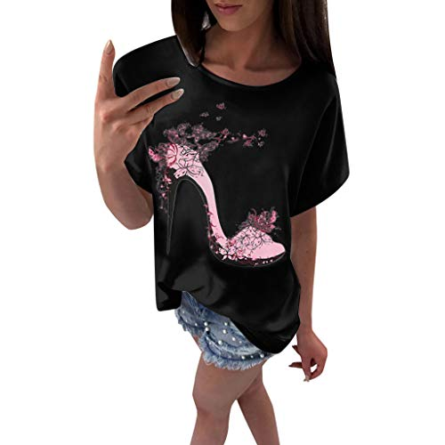 - Sunhusing Womens Summer High Heels Flower Print Solid Color Round Neck Short-Sleeve T-Shirt Slim Joker Top Black
