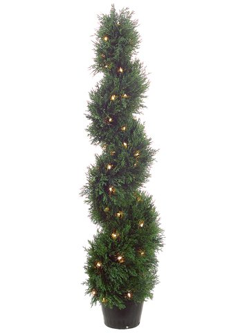 4' Spiral Cedar Topiary x692 w/70 Clear Lights in Plastic Pot Green (Pack of 2) by Silk Decor