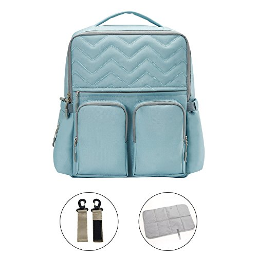 JOYNCLEON Baby Diaper Bag Waterproof Travel Backpack Large Capacity Nappy Tote Bags, Stroller Straps Changing Pad Included, Durable Stylish Multifunctional (Blue 2)