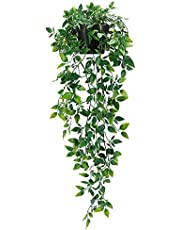 Whonline 1 Pack Artificial Hanging Plants Fake Potted Plants for Indoor Outdoor Shelf Wall Decor