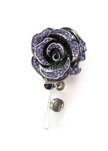 Sizzle City New Colorful Sparkly Rose Rhinestone Retractable Badge Reel/ Rhinestone ID Badge Holder (Purple Sparkly Rose)