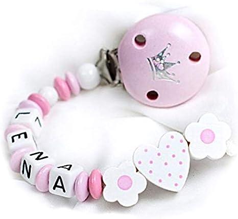 Cadena para chupete con nombres – Niña de regalo para bebé Corazón y Flores Color Blanco.: Amazon.es: Bebé