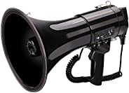 Portable 50 Watt Bullhorn/Megaphone with Siren Cheering,Powerful and Lightweight Compact and Battery Operated,