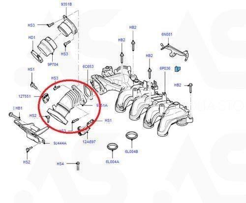 Double sortie 1440440 3M5Q-9351-EB 3M5Q-9351EB. 1348478 Tuyau turbo pour collecteur dadmission dair 3M5Q-9351-EA 3M5Q9351EB