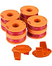 """WA0010 Replacement Trimmer Spool Line 0.065"""" for Worx WG154 WG163 WG160 WG180 WG175 WG155 WG151 String Trimmer Weed Eater (8 Spools, 2 Caps) by TOPEMA"""