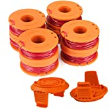 TOPEMAI WA0010 Replacement Trimmer Spool Line 0.065' for Worx WG154 WG163 WG160 WG180 WG175 WG155 WG151 String Trimmer Weed Eater (8 Spools, 2 Caps)