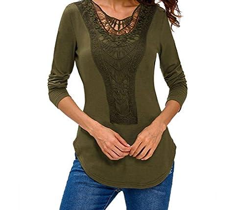 YFFaye Women's Green Crochet Front Long Sleeve Top L (What Did Kanye)
