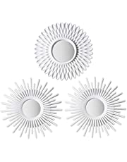 White Mirrors for Wall Pack of 3 - BONNYCO | Wall Mirror for Room Decor & Home Decor | Round Mirror for Wall Decor | Miroir Mural Modern Wall Decor Gifts for Women, Moms | Circle Mirror White Wall Decor