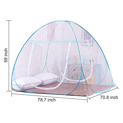 OTraki Pop up Mosquito Net Camping 200L x 180W x 150H Portable Anti Mosquito Tent Free Standing Baby Kids Adult Netting Bottomed Tents Outdoor Foldable Popup Large Travel Mesh Canopy
