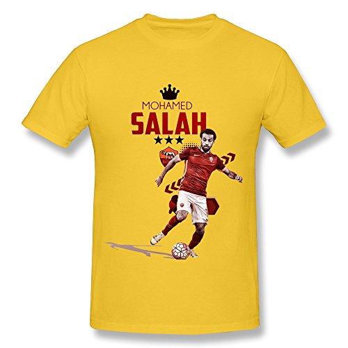 e920f89d4 ... Mens A S Roma Mohamed Salah Poster Screw Neck T Shirt Size M Yellow ...