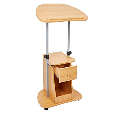 KARMAS PRODUCT Angle&Height Adjustable Laptop Cart with Storage,Portable Rolling Stand up Computer Desk,Light Brown
